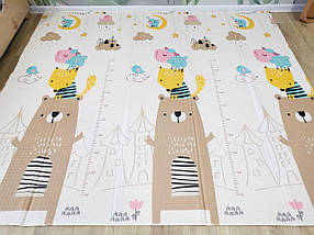 Детский развивающий двусторонний термо коврик №12 Мишка, лисичка и цифры, размер 200х180х1см, фото 2