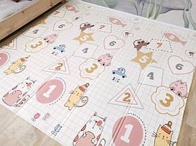 Детский развивающий двусторонний термо коврик №12 Мишка, лисичка и цифры, размер 200х180х1см, фото 3
