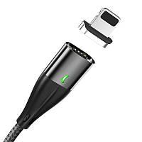 Кабель магнитный для быстрой зарядки и передачи данных Topk AM61 Apple iPhone 3.0A в оплётке Black