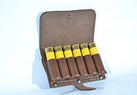 Кожаный подсумок на ремень на 6 патронов 20 калибра, коричневый