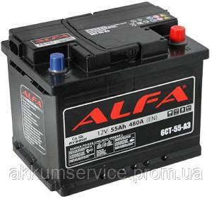 Аккумулятор автомобильный Alfa 55AH R+ 480A