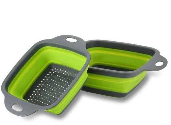 Складной силиконовый дуршлаг для мытья овощей и фруктов