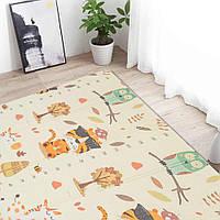 """Двухсторонний складной ПВХ коврик """"Тигрята"""" размер 1,5 м на 1,8 м Детский коврик для игры ползания мягкий"""