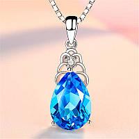 Женский кулон, Кулон с кристаллом, Медсплав, Цепь с кристаллом голубого цвета FS1733-75, фото 1