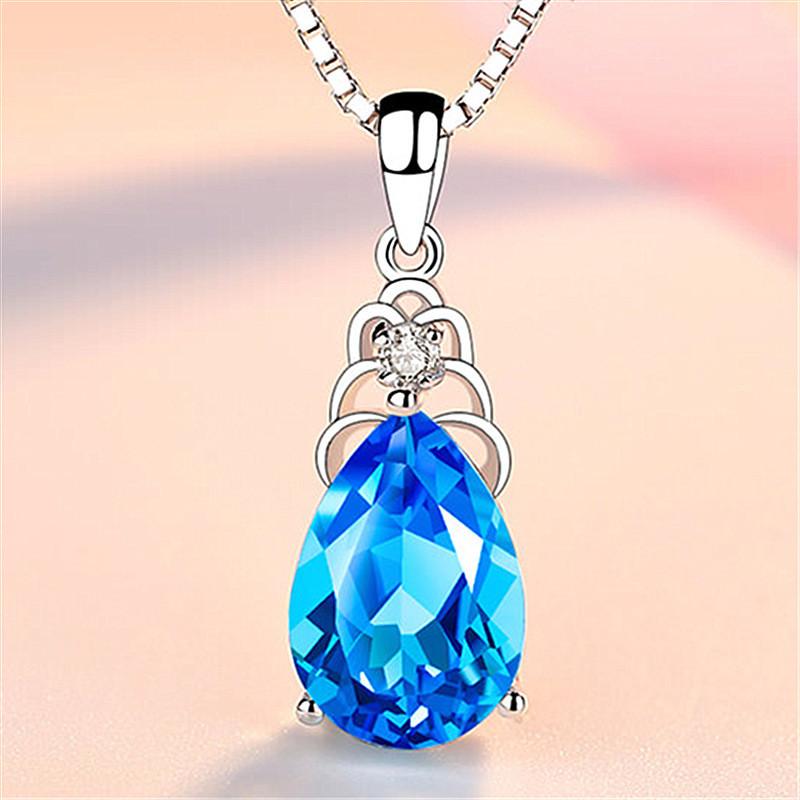 Женский кулон, Кулон с кристаллом, Медсплав, Цепь с кристаллом голубого цвета FS1733-75