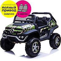 Двомісний дитячий електромобіль Баггі Mercedes-Benz UNIMOG 4х4 камуфляж