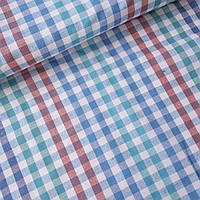 Льон рушникові з синьою червоної та зеленої кліткою на білому, ш. 50 см