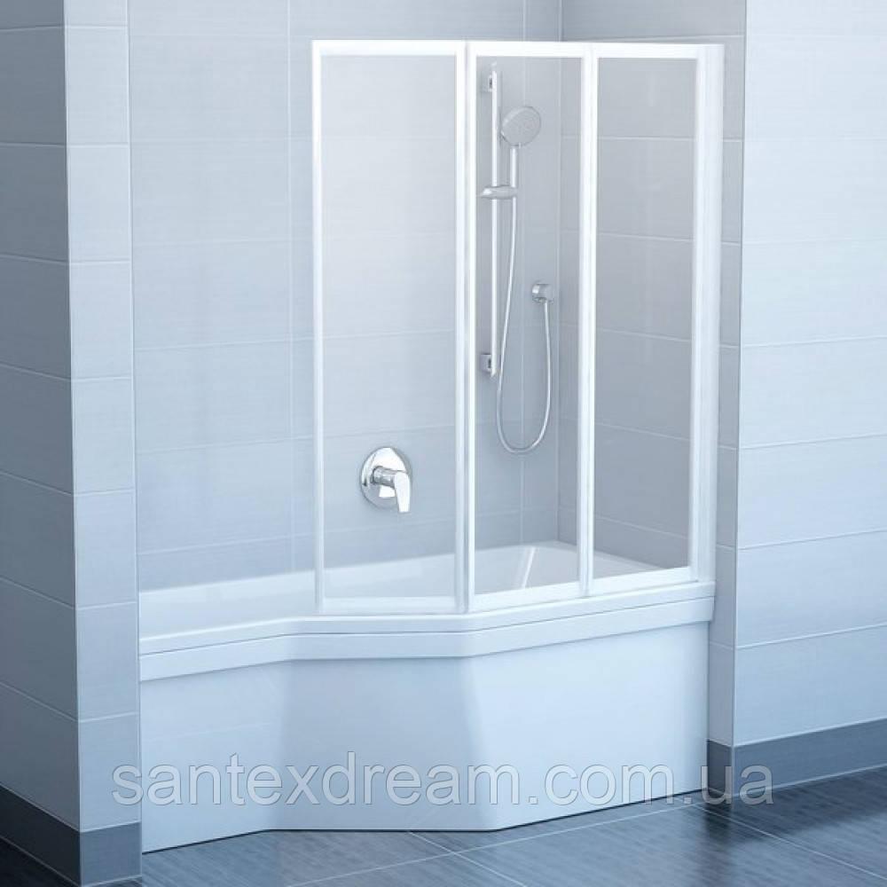 Шторка для ванны Ravak VS3 - 115 RAIN белый профиль, 795S010041
