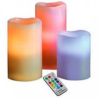 Нічник світлодіодний Luma Candles Plus різнобарвний на 3 свічки з пультом.Свічки електричні.Декоративні свічки, фото 1