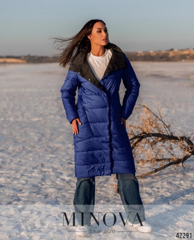 Длинная тёплая куртка батал с подкладкой Фабрика моды Минова Одесса Размеры: 54-56, 56-58