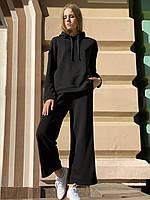 Женский базовый городской костюм повседневный с длинными штанами и худи осенний черный XS-S, фото 1