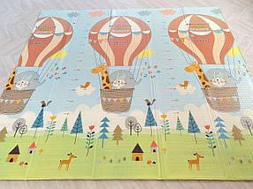 Детский развивающий двусторонний термо коврик №13 Воздушный шар и Мишка, размер 200х180х1см, фото 2