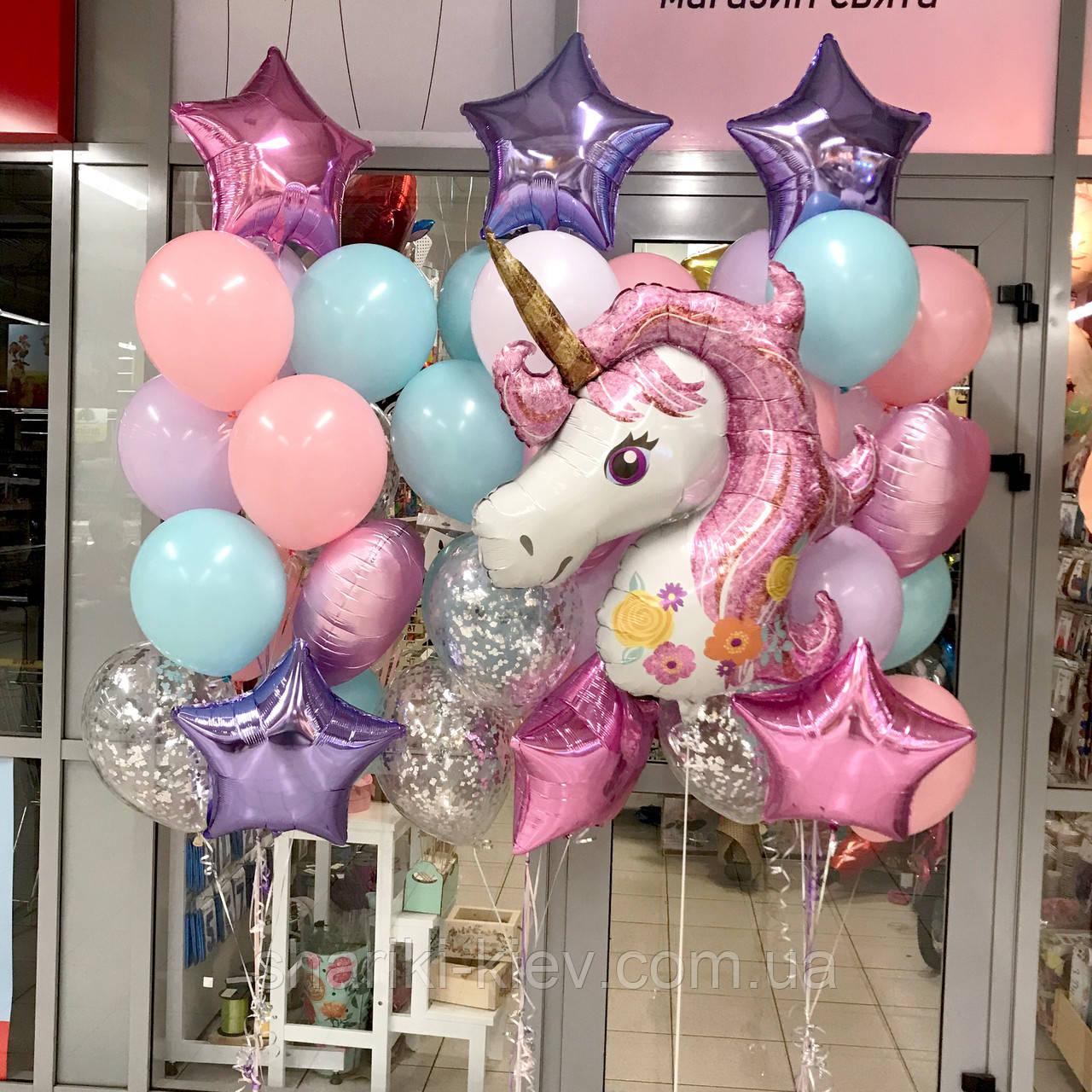 Оформление шарами для девочки в розово-фиолетовом цвете с шаром Единорог