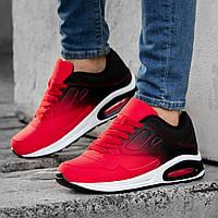 Кроссовки мужские в стиле Nike Air Max черно красные на белой подошве Размер 46