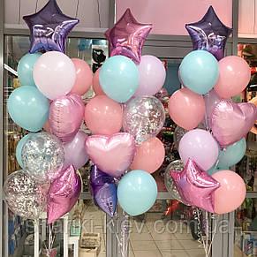 Оформление шарами для девочки в розово-фиолетовом цвете с шаром Единорог, фото 3