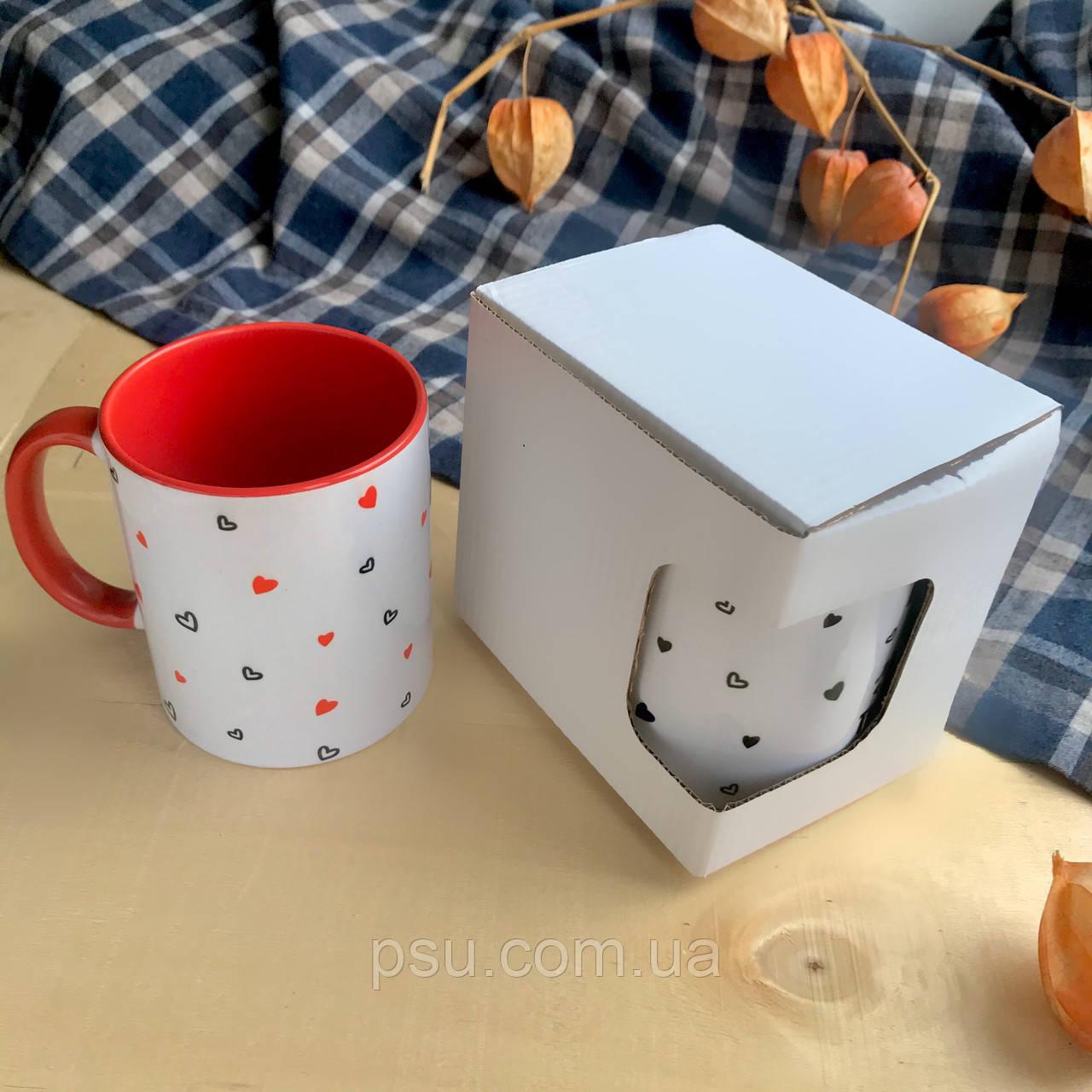 Коробочка для чашек картонная с окошком