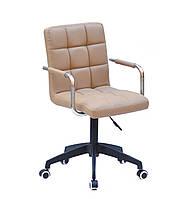 Кресло Augusto Arm BK-Modern Office с подлокотниками, бежевый экокожа на черной крестовине c колесами