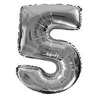 Фольгированная цифра 5 (40') Китай серебро в упаковке, 100 см