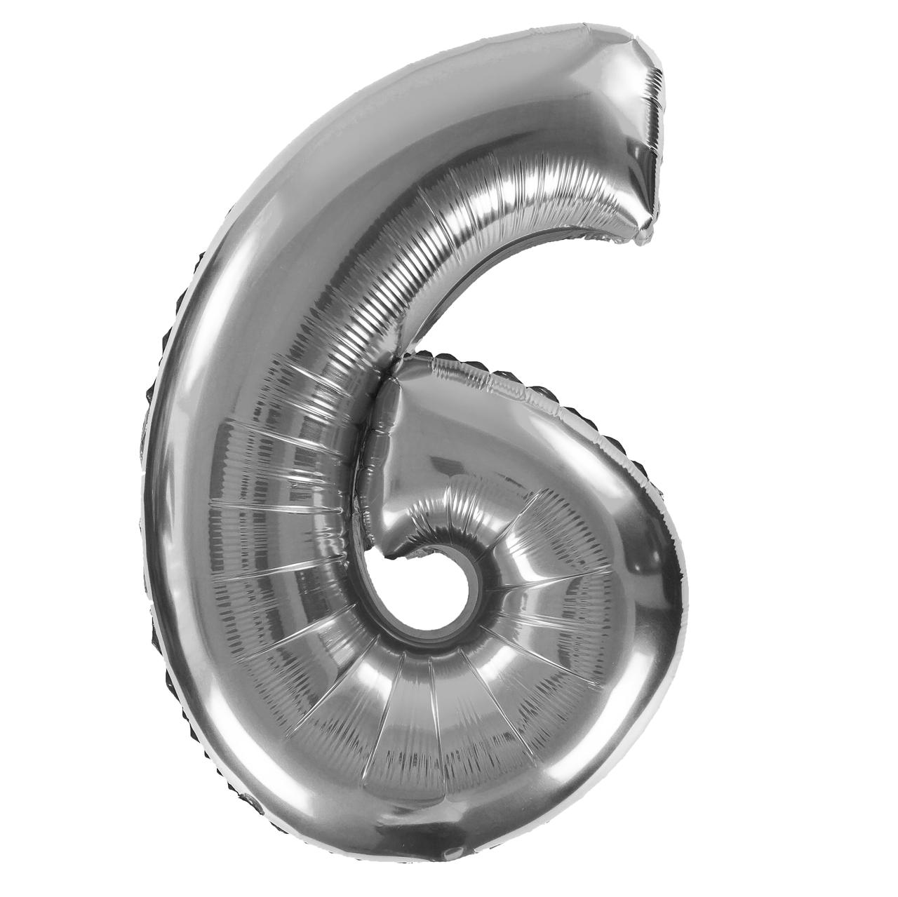 Фольгированная цифра 6 (30') Китай серебро, 80 см