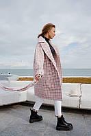 Демисезонное пальто бело-розовое