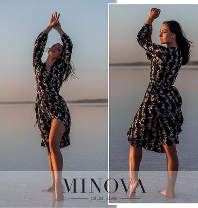 Черное платье с цветочным принтом Украина Минова Размеры: 54-56, 58-60, 62-64, фото 2