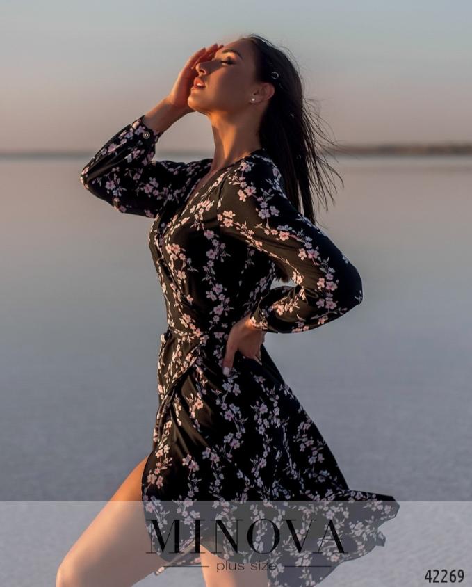 Черное платье с цветочным принтом Украина Минова Размеры: 54-56, 58-60, 62-64