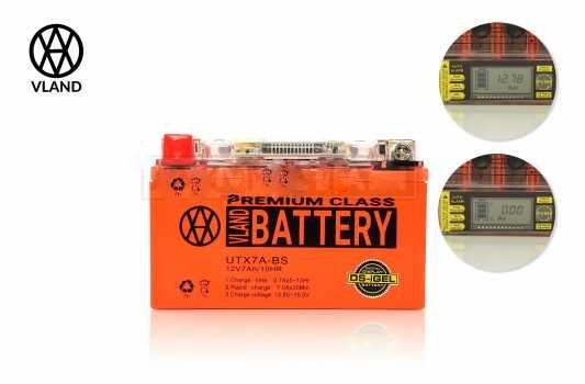 Аккумулятор 12V 7A с цифровым вольтметром 150х87х94 для GY6 100cc  гель Тайвань