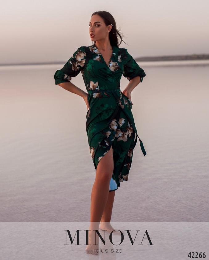 Зеленое платье с цветочным принтом Украина Минова Размеры: 50-52, 54-56, 58-60, 62-64