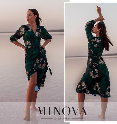 Зеленое платье с цветочным принтом Украина Минова Размеры: 50-52, 54-56, 58-60, 62-64, фото 2