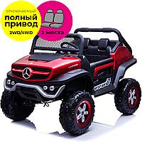 Двомісний дитячий електромобіль Баггі Mercedes-Benz UNIMOG 4х4 червоний лак
