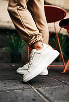 """Кросівки Alexander McQueen Leather Sneakers """"Білі/Білі"""", фото 2"""