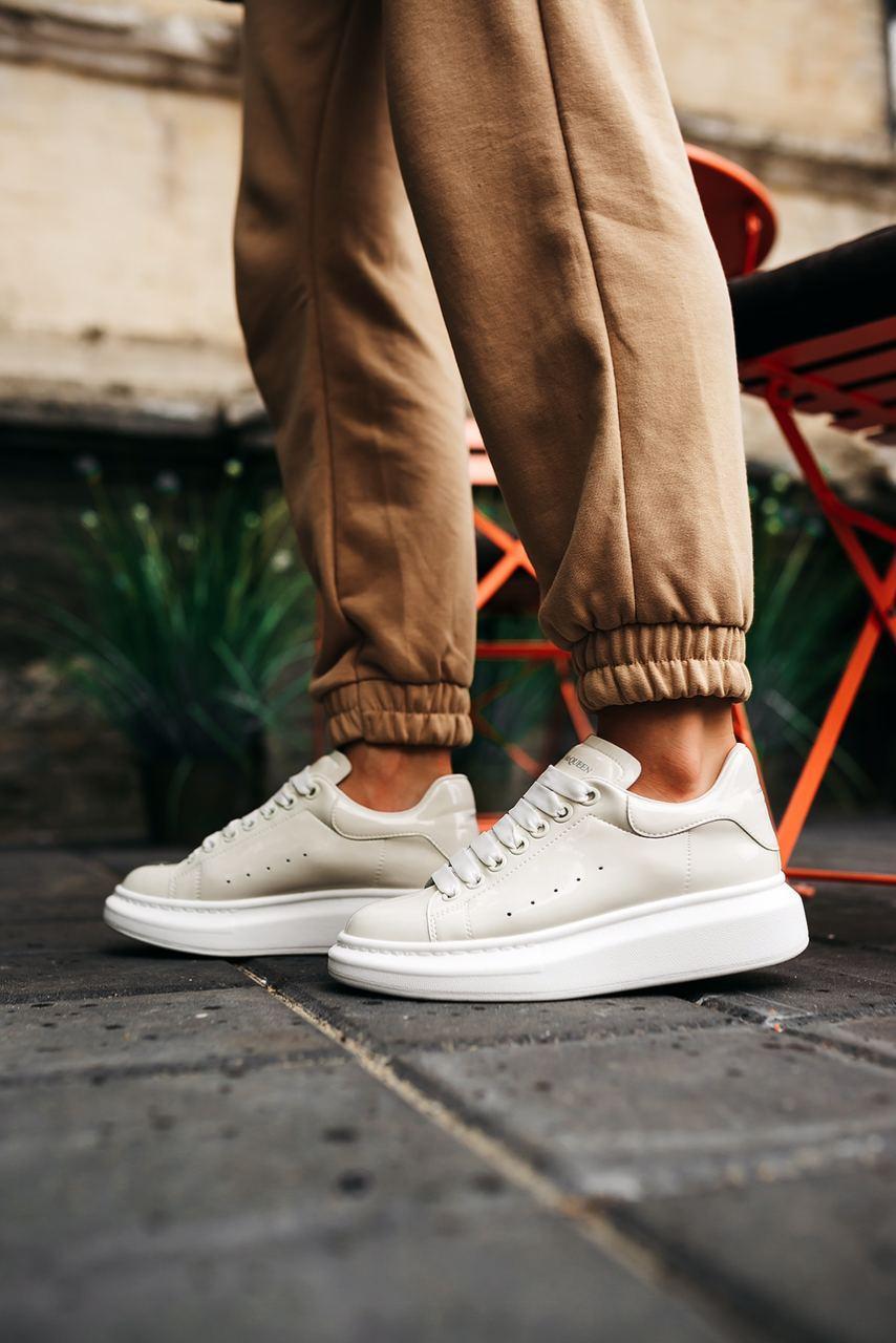 """Кросівки Alexander McQueen Leather Sneakers """"Білі/Білі"""""""