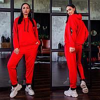 Р-48-50, 52-54, 56-58 Женский, модный трикотажный спортивный костюм.Кофта с капюшоном+брюки с лампасом.Красный