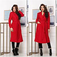 Женское кашемировое пальто на запах. Цвет: красный, черный. Итальянский кашемир на трикотажной основе