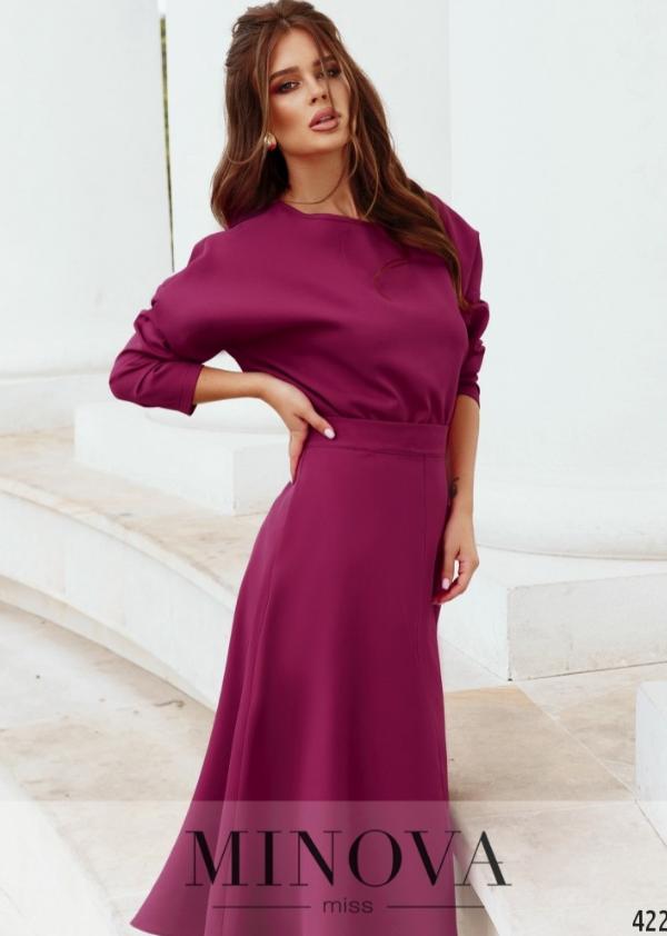 Костюм: блуза і спідниця-міді колір фуксія Україна Розміри: 42-44, 44-46