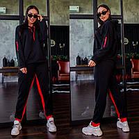 Р-48-50, 52-54, 56-58 Женский, модный трикотажный спортивный костюм.Кофта с капюшоном+брюки с лампасом.Черный