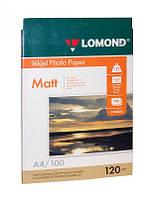 Фотобумага А4 Lomond 120 г/кв.м 1 сторона матовая 100 листов