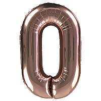 Фольгированная цифра 0 (30') Китай розовое золото, 80 см