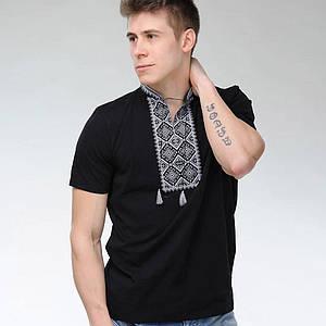 Вышиванка черная Атаман с серебристой вышивкой