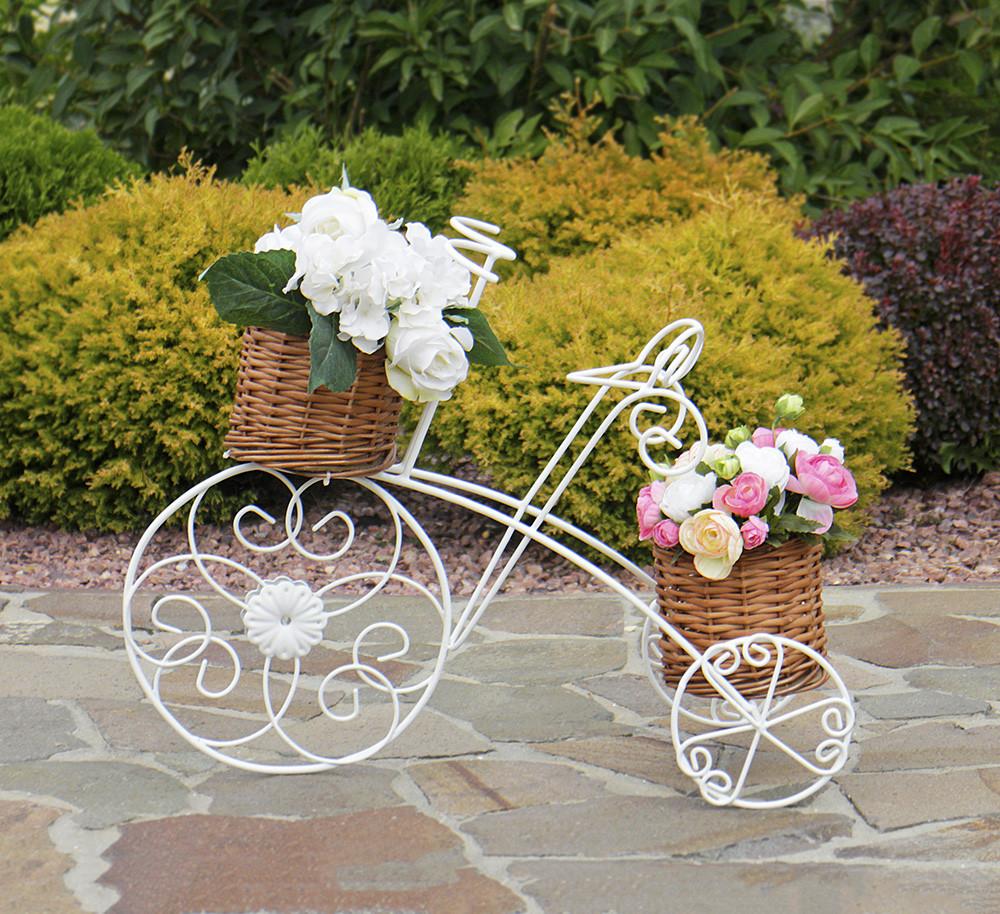 Кашпо велосипед 3-х колёсный с корзинами из лозы 60*46*30 см Гранд Презент 20190422