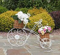 Кашпо велосипед 3-х колёсный с корзинами из лозы 60*46*30 см Гранд Презент 20190422, фото 1