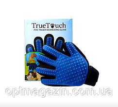 Перчатка-чесалка для котов и собак True Touch Deshedding Glove
