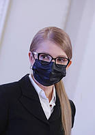 Медицинская маска черная защитная 50 шт паяная с фиксатором трехслойная