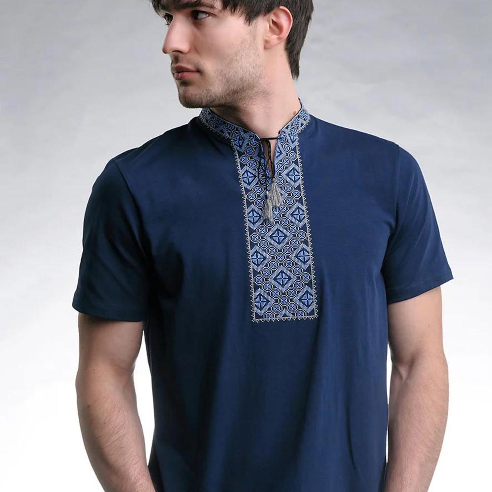 Синяя футболка Козак с синей вышивкой крестом