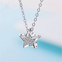 "Женский кулон ""Звезда"", цепочка с стразами, медсплав, цепочка в виде звезды FS1760-75"