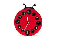 """Детские деревянные часы дизайнерские интерьер """"Божья Коровка"""" HandMade Ручная Работа ТМ Просто и Легко 25х3 см"""