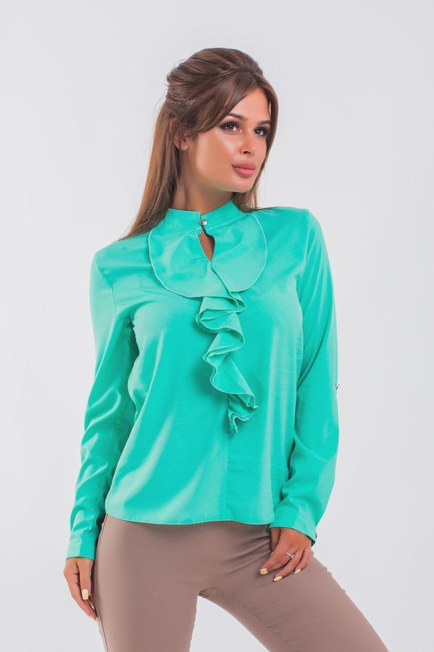 Красивая блузка с пышным жабо 42-56 (в расцветках)