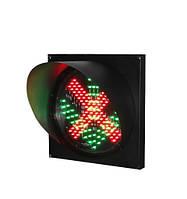 Светофор односекционный светодиодный Q200/5mm/12V красный крест/зеленая стрелка