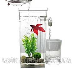 Аквариум мини с системой самоочищения My Fun Fish/ аквариум с подсветкой 2 л, фото 2