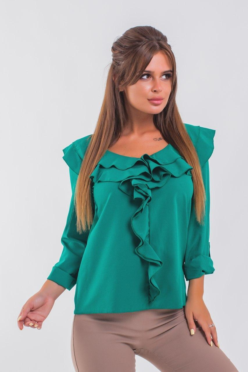 Нежная блузка с рюшами 42-48 (в расцветках)